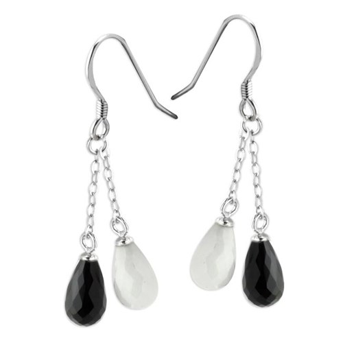 Elisa Ilana Black Agate & White Quartz Earrings