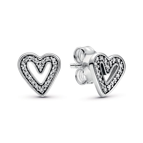 Pandora Sparkling Freehand Heart Stud Earrings 298685C01