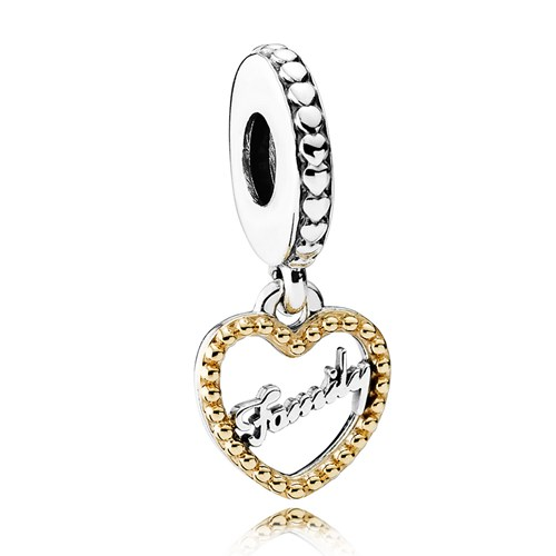 PANDORA Family Script with 14K Dangle Charm