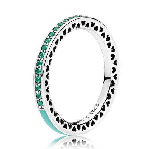 PANDORA Radiant Hearts of PANDORA, Bright Mint Enamel & Royal Green Crystals Ring