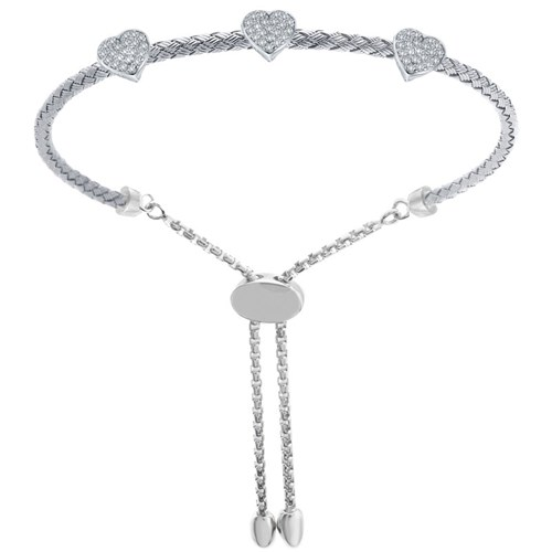 Mona Three Heart Mesh CZ Friendship Bracelet