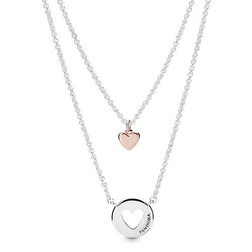 PANDORA Rose™ Layered Heart Necklaces 388083-50