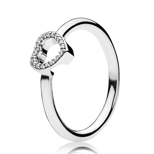 PANDORA Puzzle Heart Frame Clear CZ Ring