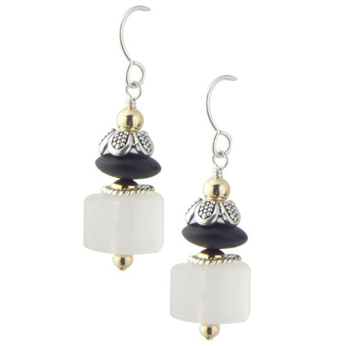 Elisa Ilana Frosted Quartz Crystal & Onyx Earrings