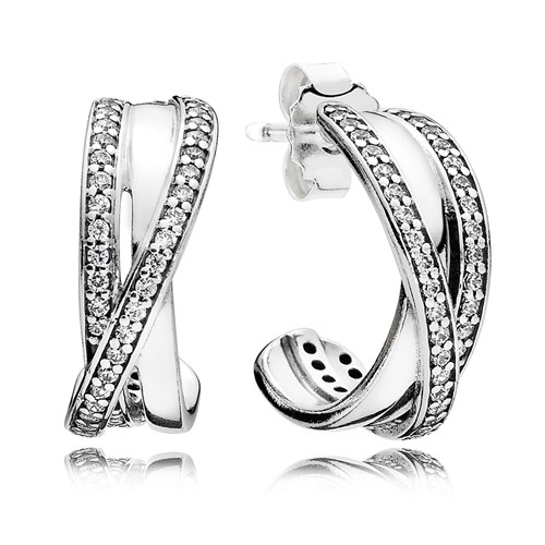 PANDORA Entwined, Clear CZ Earrings