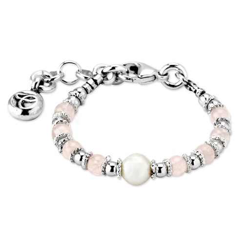 Elisa Ilana Rose Quartz and Pearl Baby Bracelet