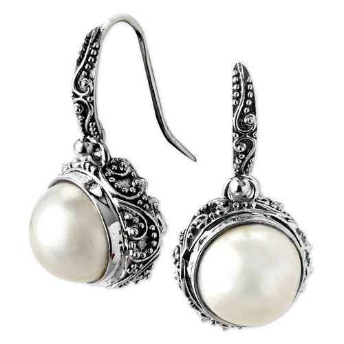 Kir Round Pearl Earrings