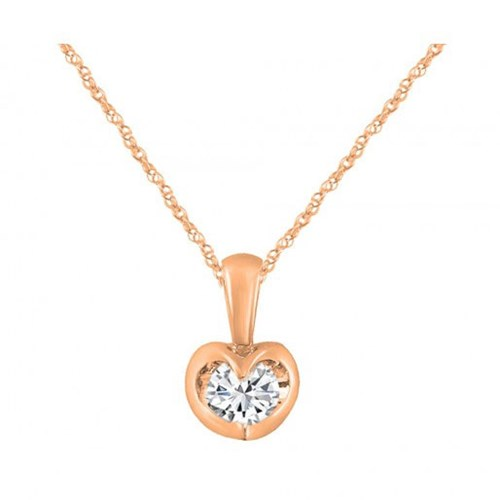 14K Rose Gold Solitare Diamond Necklace m13p2218v0916