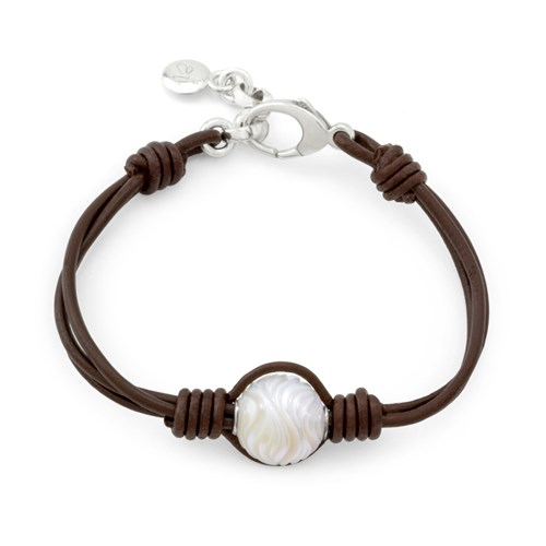 Greek Leather Freshwater Pearl Bracelet 10765B