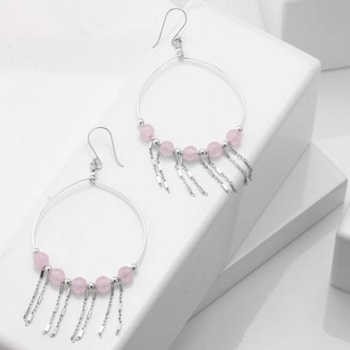 Impressionist Collection Rose Quartz Hoop Earrings 10706E