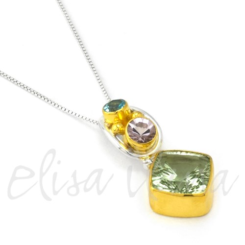 Michou Green Amethyst Enchanted Garden Necklace