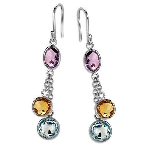 Amethyst, Citrine & Blue Topaz Earrings