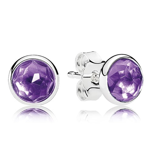 PANDORA February Droplets, Synthetic Amethyst Earrings