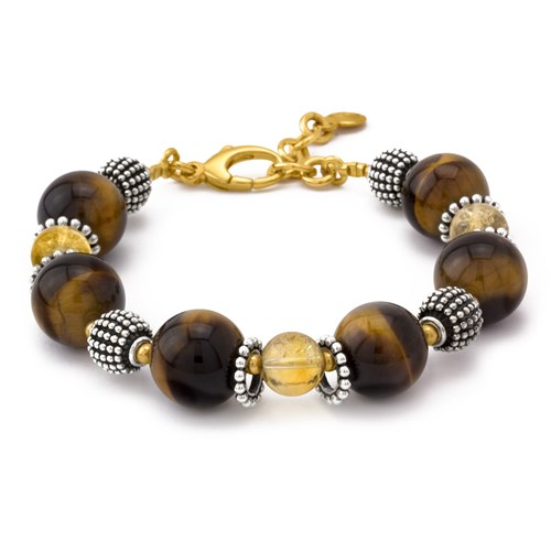 Elisa Ilana Citrine and Tiger Eye Bracelet