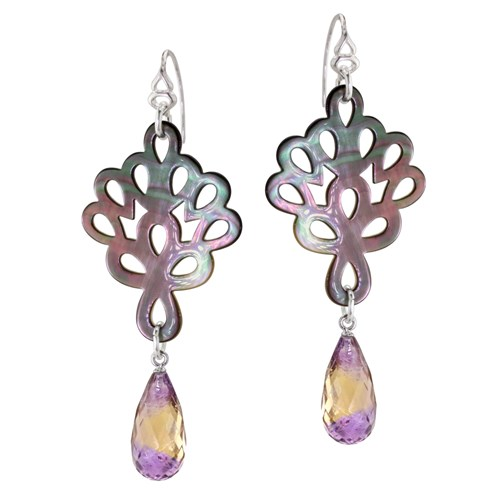 Mother of Pearl & Ametrine Earrings 10775E