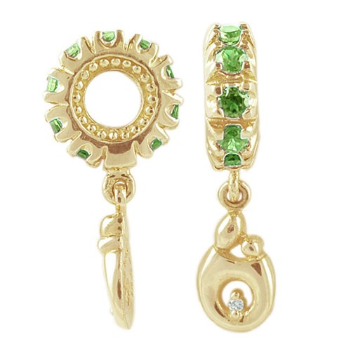 Storywheels Peridot Diamond Mother & Child 14K Gold Wheel Charm