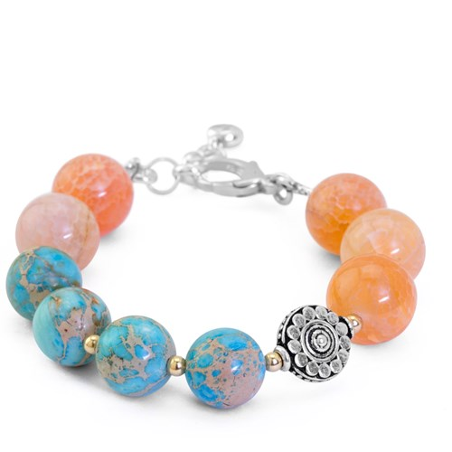 Lollies Collection Fire Agate & Imperial Jasper Bracelet 10820B