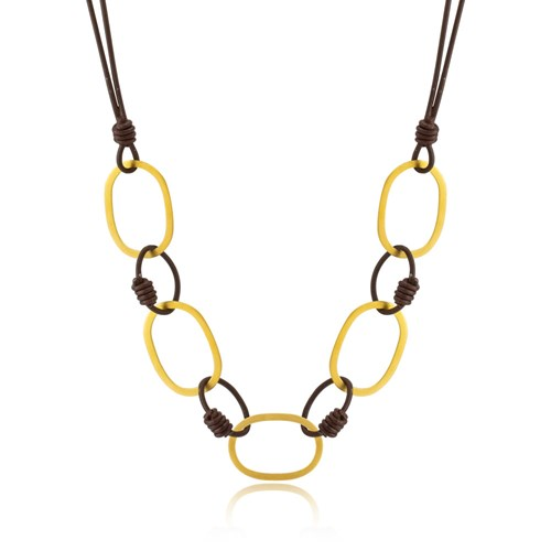 Greek Leather & Gold Chain Necklace