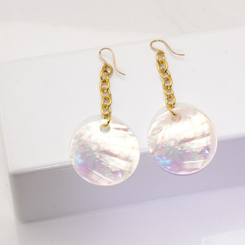 The Goddess Collection Mother of Pearl Chain Earrings