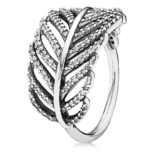 PANDORA Light As a Feather Pavé Stackable Ring