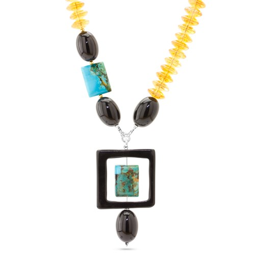 Citrine, Onyx & Turquoise Necklace 11035N