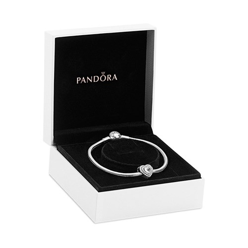 Sparkling Heartfelt Holiday Gift Set Smooth Clasp Pandora Charm Bracelet with Sparkling Level-led Heart Charm B801425