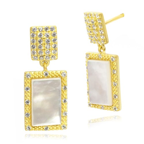 Freida Rothman Textured Mother of Pearl Drop Earrings