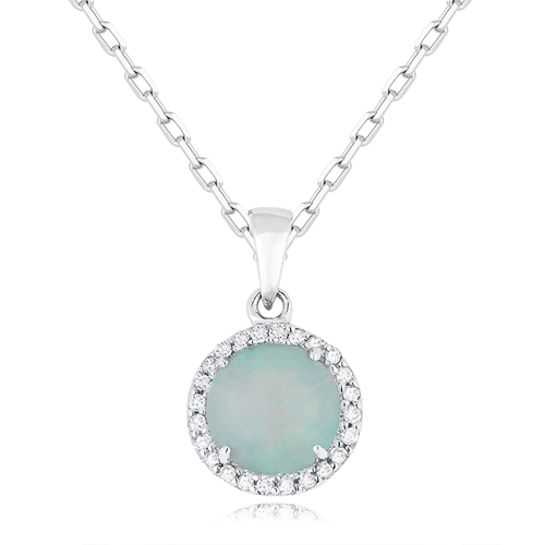 Opal & Diamond 14K Necklace