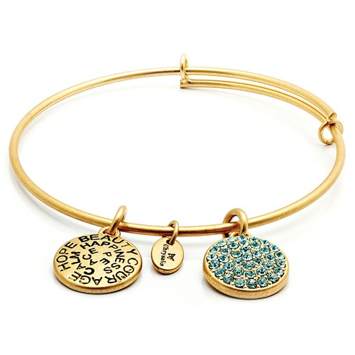 Chrysalis MARCH Aquamarine Crystal Gold Bangle