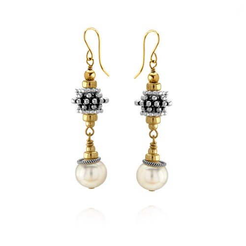 Elisa Ilana Gold and Silver Pearl Earrings