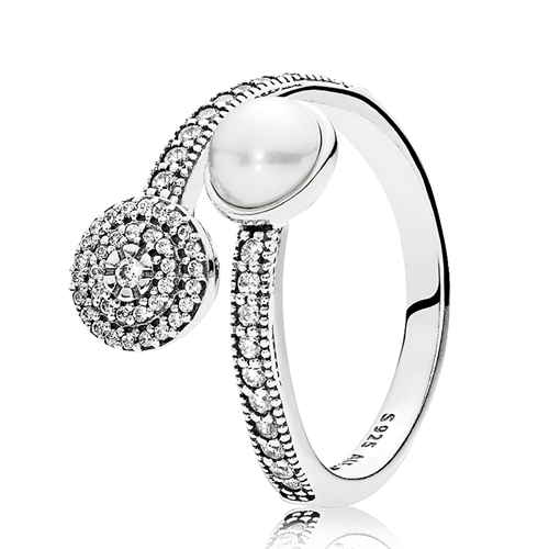 PANDORA Luminous Glow, White Crystal Pearl and Clear CZ Ring