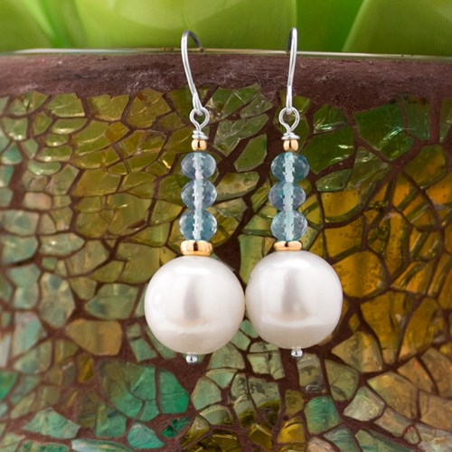 Impressionist Collection Aquamarine & Freshwater Pearl Earrings