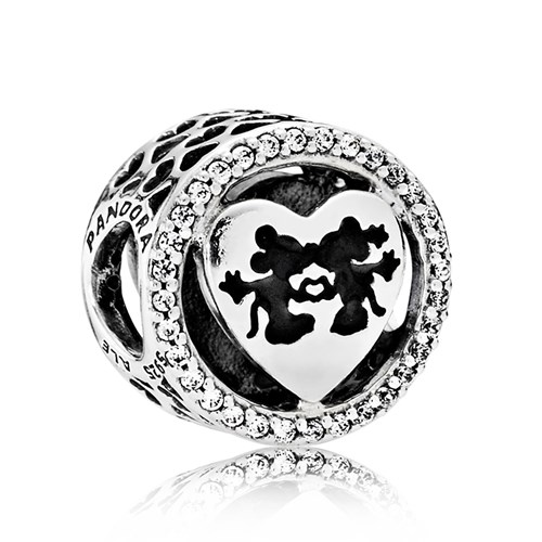 PANDORA Disney, Mickey & Minnie Love, Clear CZ Charm