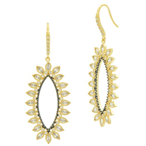 Freida Rothman Pavé Oval Drop Earrings