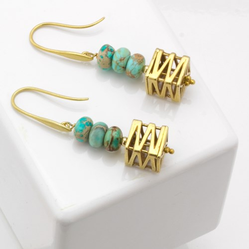 Impressionist Collection Layered Turquoise & Gold Earrings 10701E