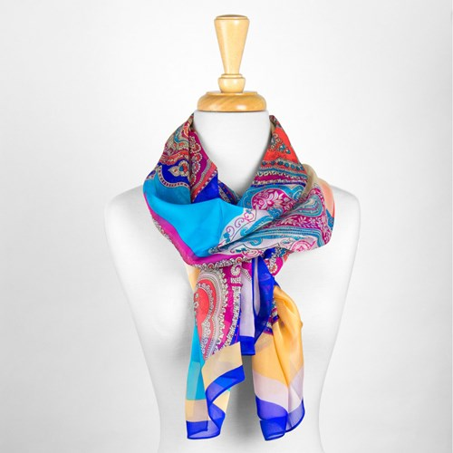 Multi Colored Paisley Silk Scarf