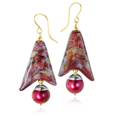The Goddess Collection Maroon Ring Pearl & Glass Earrings 10749E