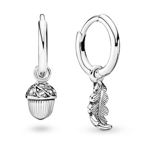 Pandora Acorn & Leaf Hoop Earrings  298603C01