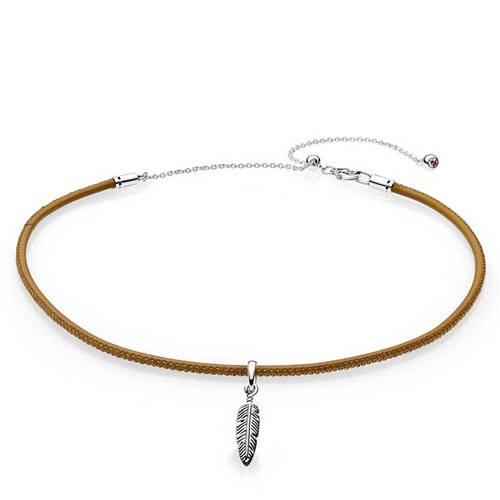 PANDORA Golden Tan Leather Choker Necklace & Feather Pendant 397197CGT