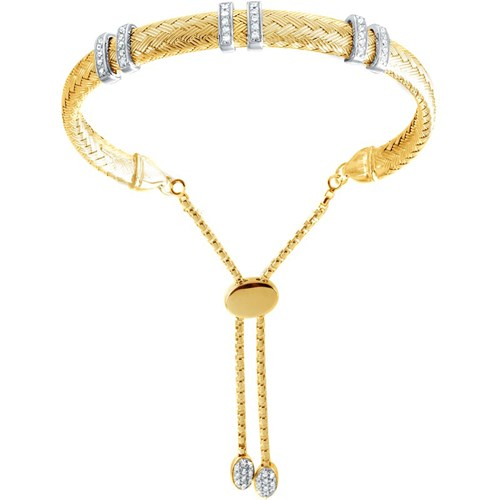 Valenza Three Double Bar CZ Mesh Friendship Bracelet Gold