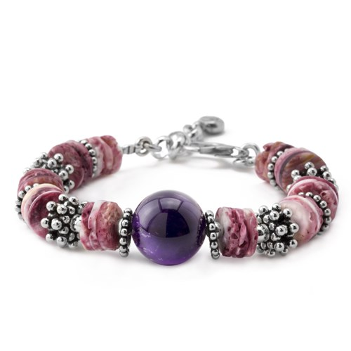 Heshi Spiny Oyster and Amethyst Bracelet