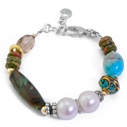 Impressionist Collection Green Opal & Unakite Bracelet 10659B