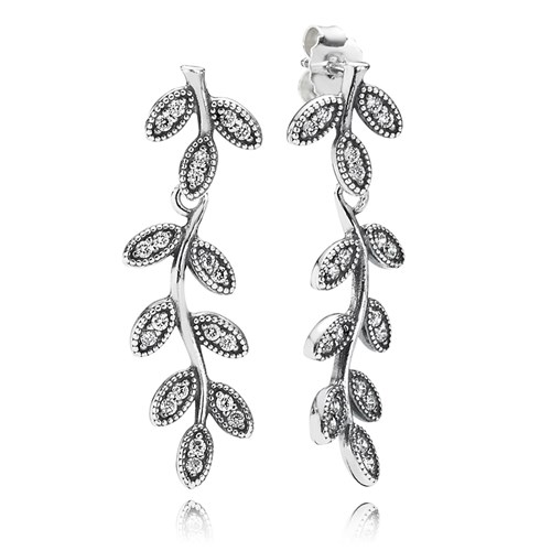 PANDORA Sparkling Leaves CZ Dangle Earrings