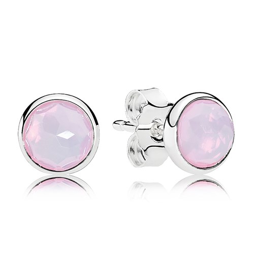 PANDORA October Droplets, Opalescent Pink Crystal Earrings