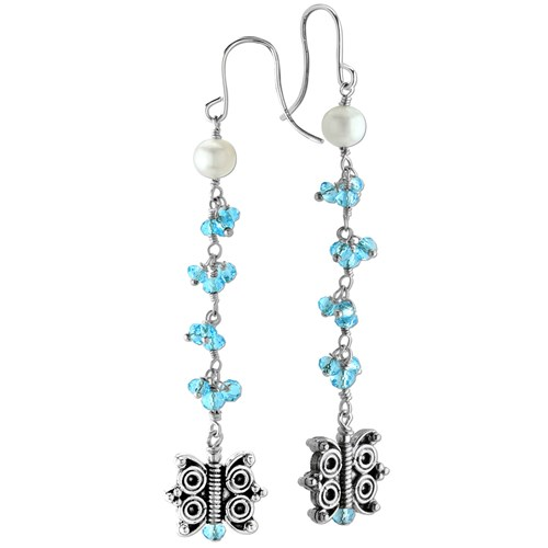 Elisa Ilana Blue Quartz Butterfly Earrings