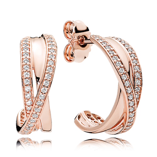 Pandora Rose Gold Cz Entwined Hoop Earrings