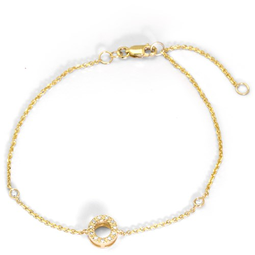 14K Yellow Gold Diamond O Bracelet 6Q52DOY