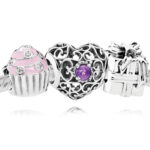 PANDORA Happy February Birthday Charm Set