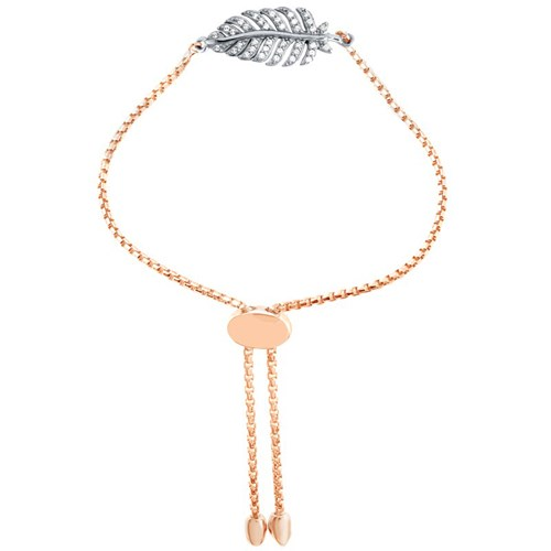 Barb Feather Palm CZ Friendship Bracelet Rose Gold