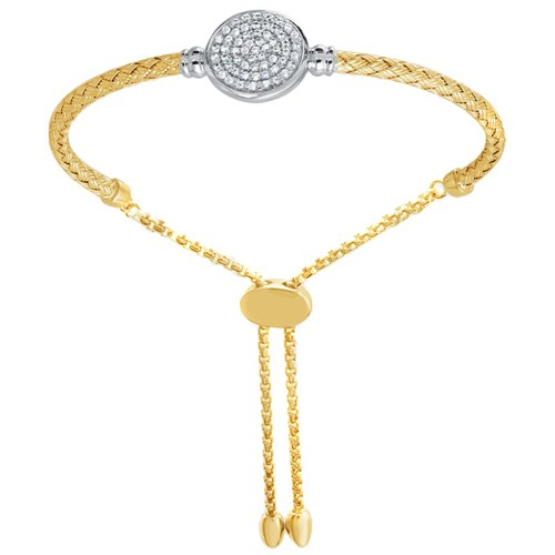 Sheila Disc CZ Mesh Friendship Bracelet Gold